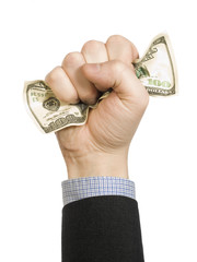 A man´s fist wrapping a one hundred dollar bill with his hand.
