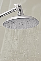 Streams of water jet from a flat-head shower