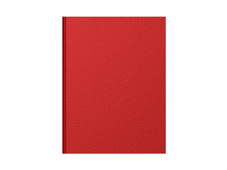 Top down view of a closed red book with a textured cover.