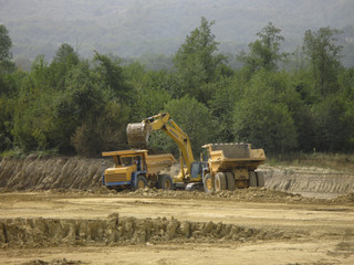 Coal mine machines in work in field