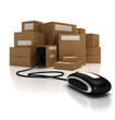 Heap of packages with a computer mouse