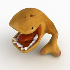 Big Mouth Cartoon Creature, 3d, isolated