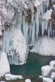 Frozen waterfalls on Plvice lakes national park, Croatia