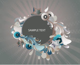 blue and grey abstract medallion- decorative background poster