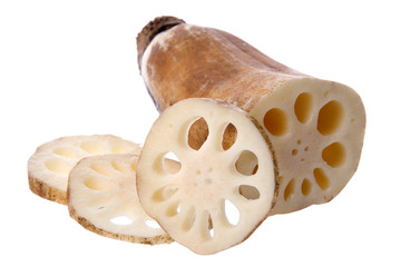 Isolated image of lotus root commonly used in Malaysian cooking.