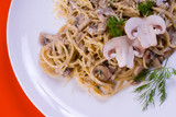 Freshly cooked plate of spaghetti with champignons sprinkled poster
