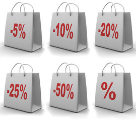 Shopping bag with percent. 3d
