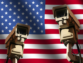 two CCTV cameras and rippled American flag illustration