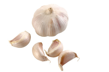 garlic bulb with cloves isolated on white