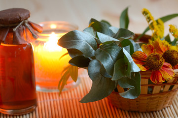 candle, massage oil, flower for spa