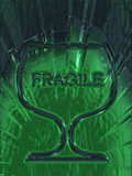 Fragile Glass symbols on a background of green poster