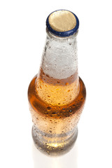 Beer bottle with a cap, shot from top, isolated