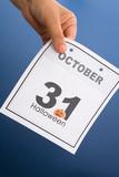 Halloween, calendar October 31 with blue background poster