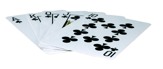 playing-cards on a white background are a risk