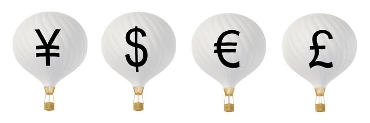 B/w currency hot air balloons