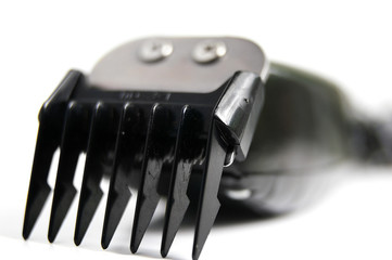 closeup of electric hair clippers, on white
