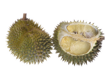 Isolated image of Durians, the King of Fruits.