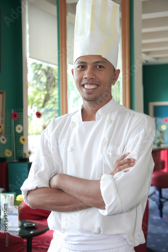 chef standing at restaurant