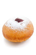 hanukkah doughnut with jam and pouderd sugar