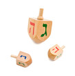 three wooden dreidel jewish hanukkah game isolated on white