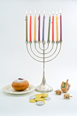 Hanukkah menora, Dreidel, Chocolate Gelt, donuts, over white