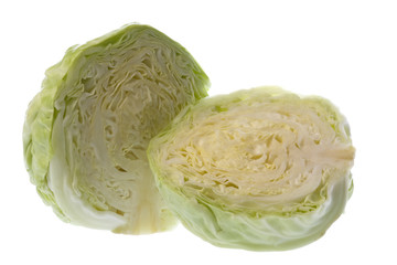 Isolated macro image of a sliced cabbage.