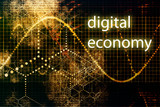 Digital Economy Abstract Business Concept Wallpaper Background poster