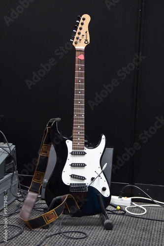 Modern electric black&white guitar