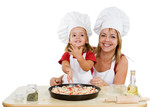 Proud little girl making first pizza with her mother - isolated poster