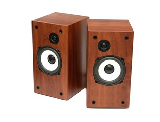 A pair of hi-fi speakers isolated on white