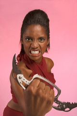 Crazy ethnic woman threatens using Brass Knuckle knife