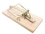 Single mousetrap against the white background poster