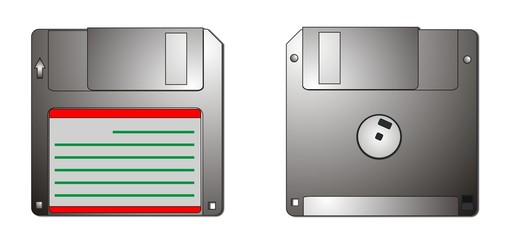 Type of the diskette with two sides, isolated
