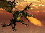 3D render of a fire-breathing dragon flying at sunset. poster