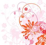 Fototapety floral grunge rose et orange