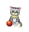 Cute grey green-eyed kitten with ball