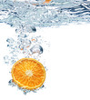 orange is dropped into water