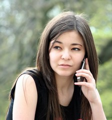 young girl with mobile phone
