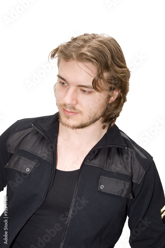 fashion young man in black isolated on white