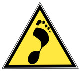 yellow and black triangular traffic sign with a foot print poster