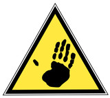 yellow and black triangular traffic sign with a hand print poster