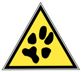yellow and black triangular traffic sign with a paw print poster