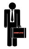 business man holding briefcase with the words - unemployed poster