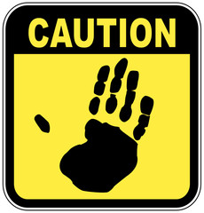 yellow and black caution sign with hand print - no touching