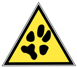 yellow and black triangular traffic sign with a paw print