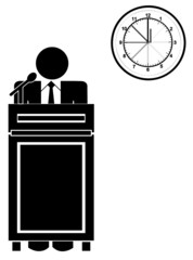 business man standing at podium with clock