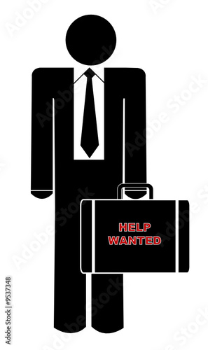 business man holding briefcase saying help wanted