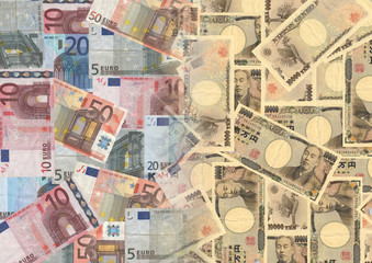 Euros and Yen background illustration
