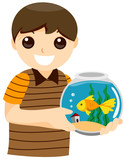 Boy with Pet Fish