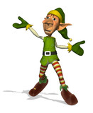 Fototapety 3D render of a happy, dancing Santa's elf.